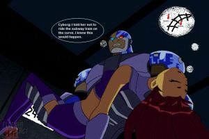 Cyborg Picks Up Starfire And Carries Her Away... by supercooldude2014
