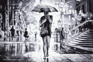 Ballpoint Pen Drawing Poletaev -Under the umbrella by poletaevart