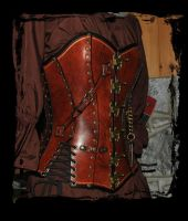 leather overbust corset steampunk by Lagueuse