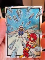 The Flash vs Captain Cold sketch card by johnnyism