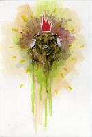 Bear with a Red Crown by manfishinc