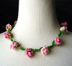 Crochet Necklace Pink Flowers Daisy Chain by ~meekssandygirl