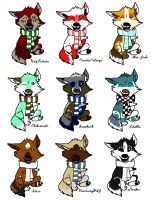 winter fox adoptables by redwolf24