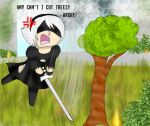 YorHa androids suck at being lumberjacks by kingofthedededes73