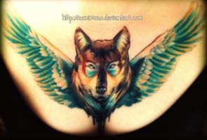 chest-piece Wolf tattoo completed by oomizuao