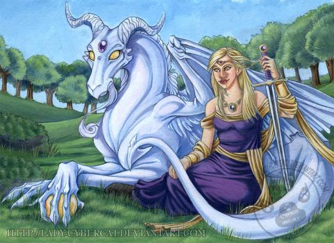 The White Dragon and Maiden by lady-cybercat