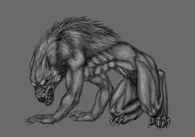 Creepy Werewolf by sylverwolffe