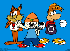 Bubsy, Parappa and Rayman by BluebottleFlyer