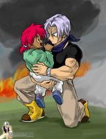 Trunks Saves Mei by Rider4Z