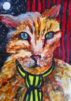 A cat in black and yellow tie by Verine