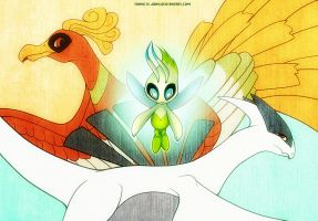 Celebi Ho-oh and Lugia by francis-john