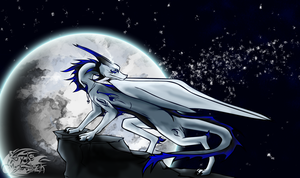 White Dragon Before the Moon {Royle's Dragon Form} by Royle-McCulloch