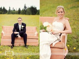 Field of Love On a Peach Couch by FDLphoto