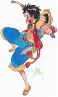luffy- one piece (gift for darkangelanimal) by livefor-anime