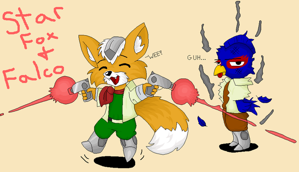 Chibi Star Fox and Falco by PrettyKitty