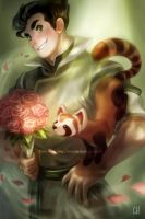 Legend of Korra - Bolin + Pabu by kimchii