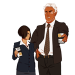 Special Agent Angry Eyebrows and Jin Digglywiggly by noebelle