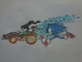 Friendly Race: Vanellope vs Sonic by AuraSoldierI