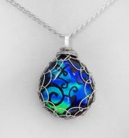 Blue and Green Wrapped Pendant by poisons-sanity