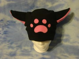 Black Hat with Pink Pawprint by HatcoreHats