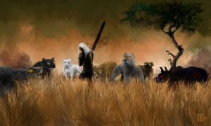 Rake vs Hounds by Luktarig by Malazan-Art-Guild