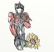 Optimus Prime - with bug and flower by rabbitzoro