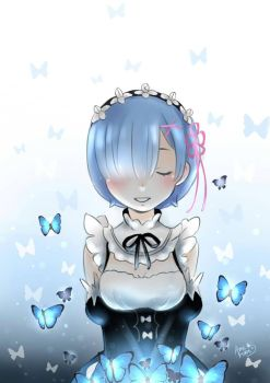 Rem and blue butterflies by itsamehime