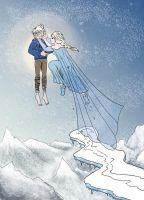 Jack Frost and Elsa by CaranVeSereg