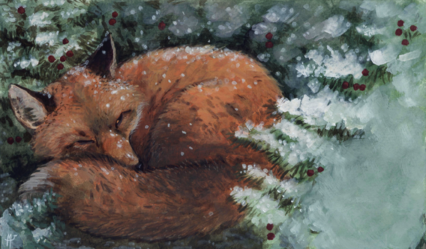 Christmas Card: napping fox by Camelid