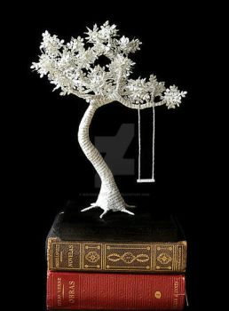 Paper Tree with swing on wood Paper Sculpture by MalenaValcarcel