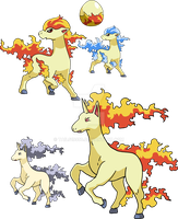 077 and 078 - Ponyta Evolutionary Family by Tails19950
