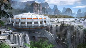 Tropical Sci-fi Outpost by Dlestudio