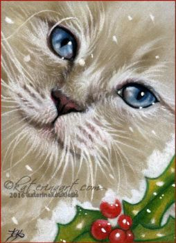 Christmas Kitten ACEO by Katerina-Art