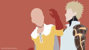 Saitama | Genos (One-Punch Man) Minimalist by Sephiroth508