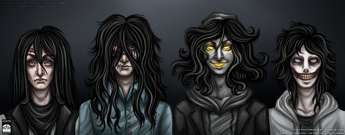 Creepypasta - Long Black Hair Squad by Ayato-Inverse