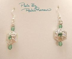 Silver Swarovski and Green Crystal Earrings 53 by TheSortedBead