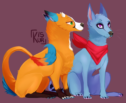 Full Body Commission of my 2babies by SasonyaWolf