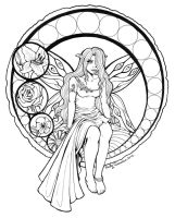 Stained Glass Fairy Lineart by OtakuEC