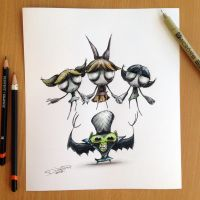 Power Puff Girls creepy sketch by AtomiccircuS