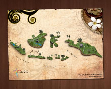 Wonderful Indonesian Map by puzzleinc