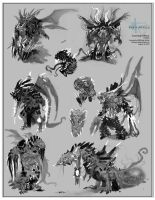 Sketches for Creature by Robotpencil