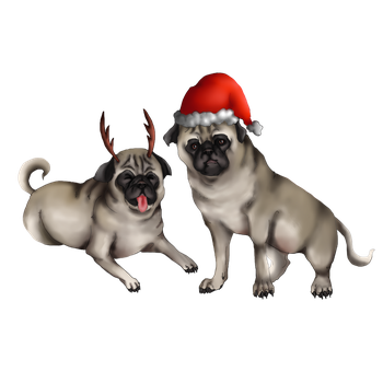 Christmas Pugs Comission by DeltaNebula
