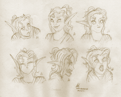Arathana Expression Sheet - Sketch by dolorintus