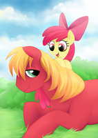 Big Mac and Applebloom by peachiekeenie