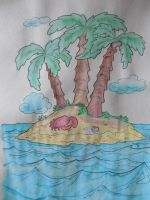 Watercolor coloring- tropical island by crochetamommy