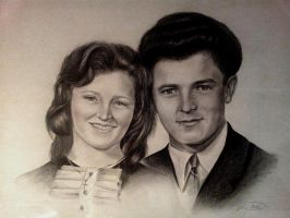 Portrait of my mother in law with her husband by DarkAngels777