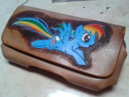 Leather Rainbow Dash phone carrying case by aizez
