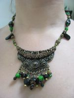crazy green necklace by roundtressym
