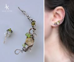 silver ear pin and stud Linden alley by JuliaKotreJewelry