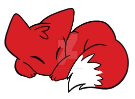 Curled Sleeping Fox by ImaginaryFox